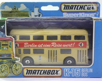 NOS 1970's Matchbox Super Kings K-15 Berlin Bus. Made in England printed in West Germany.