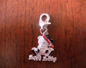 Silver lobster Christmas Teddy bear charm charm