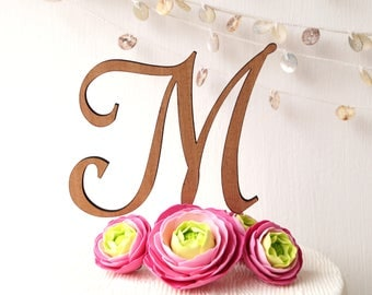 Monogram wedding cake topper, cake topper, wedding cake topper, rustic cake topper, wooden cake topper, single letter cake topper