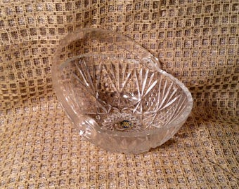 Rare Lead Crystal Glass Basket - Hoya Japan, Original Sticker, 1960s - Springtime, Easter Decor - Bathroom, Vanity Catch All Dish