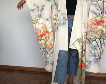 Vintage Japanese Kimono Silk furisode - huge off-white fans and peacocks with gold!