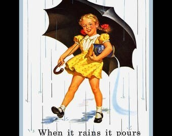 """When It Rains It Pours, Morton's Salt Sign, Kitchen Wall Art, Gift For Mom, Gift For Her, Pantry Art Print, Office Wall Decor, 8x10"""", 11x14"""""""
