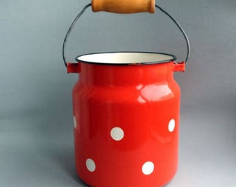 Vintage enamel can Milk can polka dot Soviet cottage Polka dot red milk can Retro churn Old jar Outdoor metal vase Retro milk jug 1980s