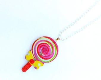 Lollipop Jewelry - Candy Jewelry - Candy Necklace - Candy Buttons - Wooden Jewelry - Wooden Button - Button Necklace - Button Jewellery