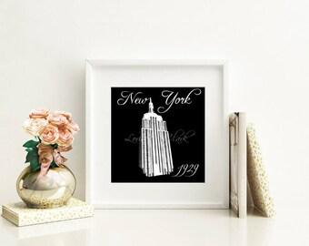 New York City - Empire State Building, City Landmark Art Print, Modern Urban Style, World Traveler Art, Black and White Artwork for Home