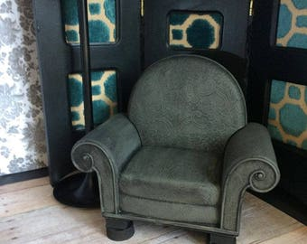 Upcycled Doll Furniture  - Grey Chair -  for Diorama / Display