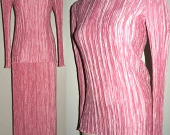 Vintage Mary McFadden Couture FORTUNY Pleat  Tunic & Skirt ensemble Pink / Vintage size 8 / Current XS/S