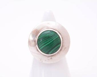 Heavy Malachite and sterling silver shield ring / healing gemstone ring / Tribal jewelry / healing gemstones / malachite statement ring
