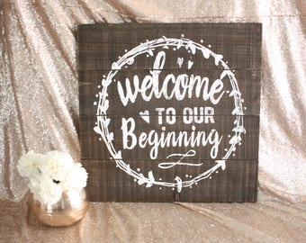 Wedding Sign / Wedding Decor / Welcome Sign / Wedding Chalkboard / Sign / Welcome to Our Beginning / Calligraphy Sign/ Handlettered Sign