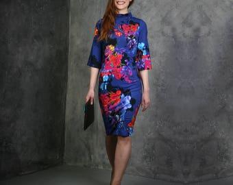 Purple Floral Dress, Floral Print Dress, Purple Women Dress, Pencil Dress, Elegant Dress, Winter Dress, Flowers Dress, Floral Midi Dress