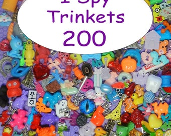 "SMALL TRINKETS (200) for I spy bags, I spy bottles, sensory bins, games, teaching, 1"" toys, tiny toys, small toys, No Duplicates!"