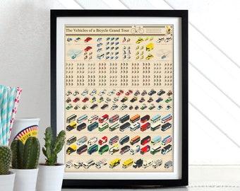 Tour De France Vehicles Poster bicycle bike  Wall Art Hanging Print Home Décor Giro D'Italia,  Vuelta a España