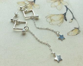 Long earrings diamonds star Pearl 925 sterling silver chain, everyday earrings white, modern