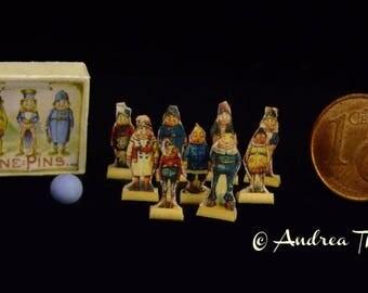 Vintage Bowling Game - Palmer Cox Nine Pins - The Brownies - Artisan Handmade Miniature 1:12 scale