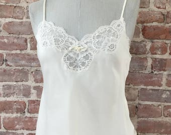 S / Dior Cami Top / 1970s Camisole / Lace Lingerie