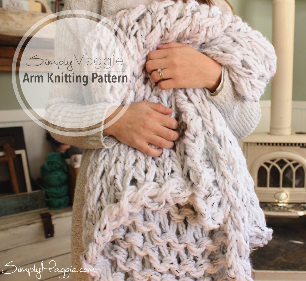 Arm Knitting Blanket For Beginners : Arm knitting pattern lush knit throw chunky