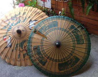 Collection of Vintage Paper Umbrellas/Asian Umbrella Collection/Handpainted Paper Umbrellas