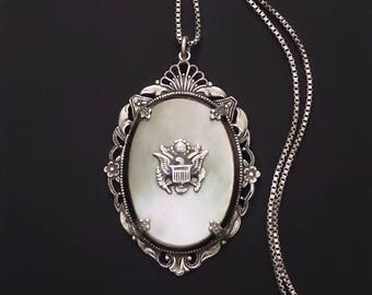 Vintage SWEETHEART Jewelry WWII Sterling Necklace Army Military Mother of Pearl Pendant, Antique LOVE Token Memento, Art Deco Filigree 1940s