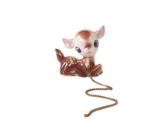 Vintage Fawn Figurine, on chain leash, Ceramic Figure, Miniature Deer, Vintage Bambi Baby Deer