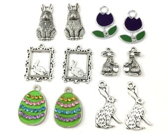 12 Easter charms silver and enamel,18mm to 28mm  #ENS A 004