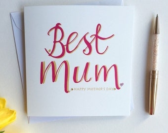 Mother' day card - hand finished Mother's day card - Best Mum card - hot pink card - best mum - pink card