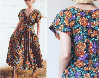 80s does 40s Dark Floral Jersey Dress //  90s Floral Button Back Full Skirt Midi Dress w Pockets sz S / M / 6