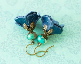 Blue Leather Flower Earrings with Turquoise Beads, Antique Brass, Leather Jewelry, Boho Chic Earrings