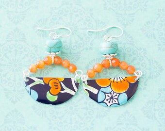 Half Circle Orange and Blue Cherry Blossom Vintage Tin Earrings with Silver Bead Caps, Asian Style Jewelry