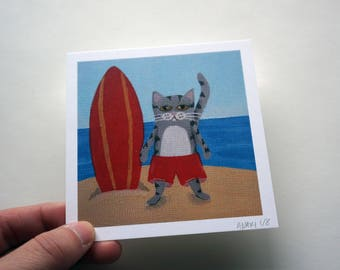 """Grey Tabby Cat at the Beach, 4x4"""" Surfing Grey Cat Print by AmberMaki"""