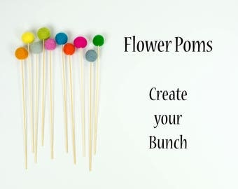 Flower Poms | Wool Felt Ball Flowers | Billy Button Flowers | Felt Ball Posies | Nursery Decor | Office Decor | Baby Shower Gift