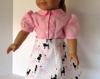 18 Inch Doll Clothes - Pink blouse and Black/Pink Poodle print skirt, sized to fit 18 inch dolls such as American Girl dolls