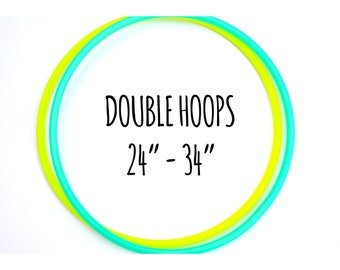 """DOUBLE HOOPS 24""""-34"""" Inch ~ Colored Polypro Doubles Set, Polypro Doubles, 2 Hoops Deal, Polypro Doubles Deal, Leave Note During Checkout"""