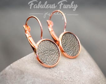 """Rose Golden Earrings-""""Leather"""""""