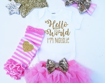 Hello World Personalized Monogrammed Coming home Set Pink and Gold Glitter  headband and  Legwarmer Set Bloomers and Bodysuit