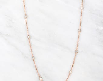 Rose Gold Necklace, Multi Layered rose gold Necklace, Quartz Necklace, Clear Quartz Necklace, Delicate Rose gold Necklace, Perfect gift