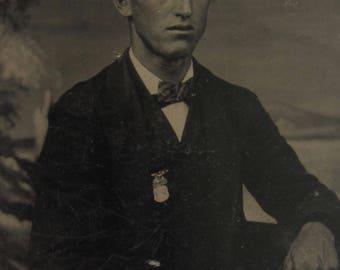 A Civil War Patriot - Original 1870's Proud Young Stylish Man Wears His GAR Medal Tintype Photograph - Free Shipping