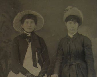 Sisters On Tour - Cute 1880's Wealthy Young Girls Tintype Photograph - Free Shipping