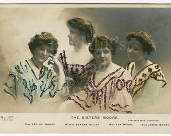 The Sisters Moore Edwardian Actresses  Theater Stage RPPC Postcard - Beagles - Writing on Back - Antique Postcard