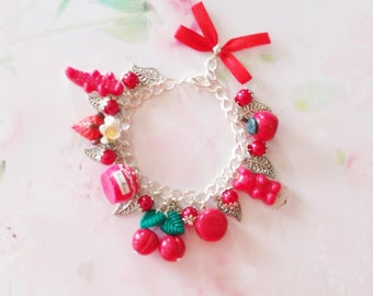 bracelet delicacies red polymer clay