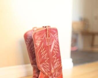 vintage cognac  brown leather cowboy boots womens 6 1/2