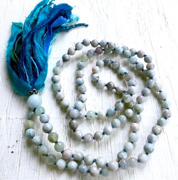 Aquamarine Mala Beads, Throat Chakra Mala, Vishuddha Chakra Mala, Yoga Jewelry, Silk Sari Tassel Necklace, Meditation Mala Beads