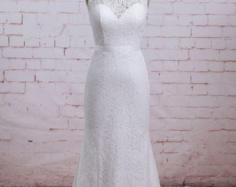 Lace Wedding Dress with Illusion Sweetheart Neckline, Sheath Wedding dress with Sweep Train Summer Wedding Dress
