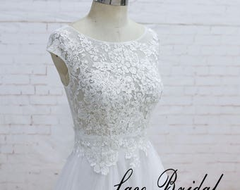 Lace Wedding Dress, Short Sleeve Wedding Dress, Bridal Gown with Tulle Skirt