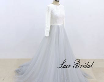 A Line Tulle Wedding Dress with Aqua Blue Skirt Bateau Neckline Wedding Gown with Long Sleeves