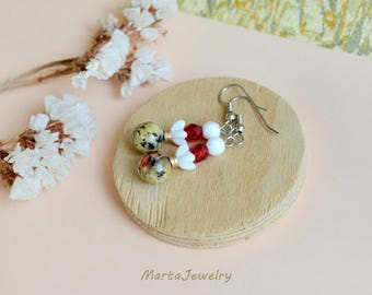 Quartz and glass earrings, minimalist, bohemian style, boho chic, tribal, dangle drop, everyday jewelry, office, casual, gemstone, white red