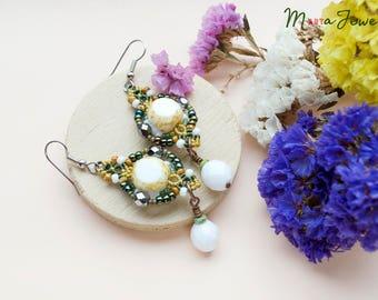 Beaded macrame earrings, glass, beaded, beadwork, micro-macrame jewelry, green white mustard metallic, boho, tribal, rustic, Picasso glass