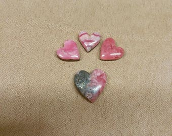 55% OFF Rhodocrosite Heart Cabochon Set/backed/seconds