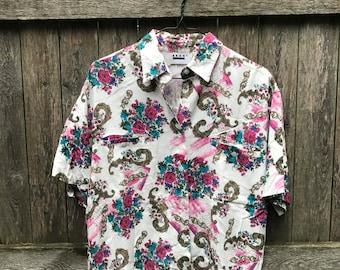 Floral Paisley Print Pocket Button Up Shirt