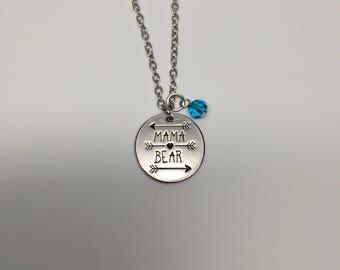 mama bear, mama bear necklace, mama bear jewelry, mama bear pendant, mama necklace, mom necklace, mom jewelry, silver necklace, necklace