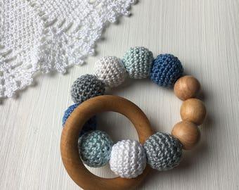 Wooden teething rings, crochet teething ring blue gray